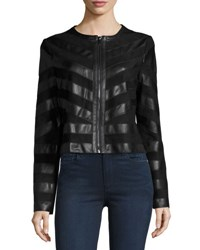 Cusp By Neiman Marcus Faux Leather And Faux Suede Jacket Black