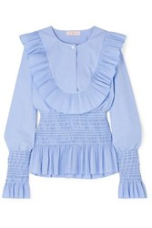Tory Burch Smocked Ruffled Cotton Blouse Light Blue