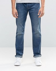 United Colors Of Benetton Mid Wash Distressed Jeans In Regular Fit Mid Blue 904