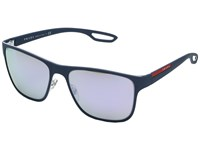 Prada Linea Rossa 0Ps 56Qs White Avio Rubber Grey Mirror Milky Blue