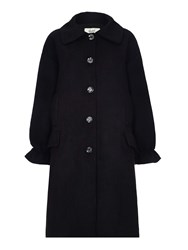 Yumi Coat With Frilled Cuffs Black