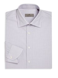 Canali Regular Fit Graph Check Shirt Purple