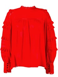 Isabel Marant 'Qimper' Ruffle Sleeve Blouse Red