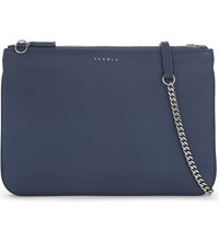 Sandro Addict Leather Cross Body Bag Bleu Denim