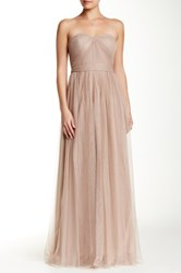 Adrianna Papell Strapless Tulle Dress Beige