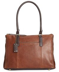 Tignanello Classic Whipstitch Vintage Tote Rust Dark Brown