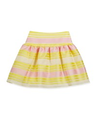 Charabia Striped Mesh A Line Skirt Yellow Pink