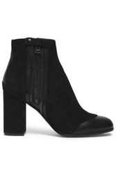 Belstaff Leather Paneled Suede Ankle Boots Black