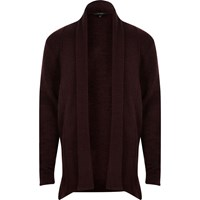 River Island Mens Dark Purple Draped Longline Cardigan