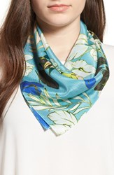 Halogenr Women's Halogen Paradise Floral Silk Square Scarf Teal Combo