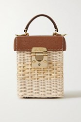 Mark Cross Grace Cube Rattan And Textured Leather Tote Light Brown