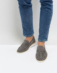 Frank Wright Woven Penny Loafers In Grey