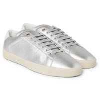 Saint Laurent Sl 06 Court Classic Metallic Textured Leather Sneakers Silver
