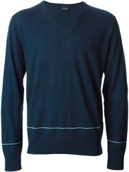 Paul Smith V Neck Stripe Detail Sweater Blue