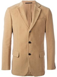 Massimo Piombo Mp Moleskine Buttoned Blazer Nude Neutrals