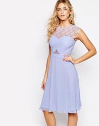 Elise Ryan Lace Top Midi Skater Dress With Cross Front Purple