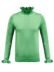 Shrimps Lettuce Edge Roll Neck Lurex Sweater Green