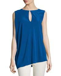 Cnc Costume National Sleeveless Keyhole Front Top Blue Women's