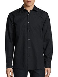Bugatchi Paisley Motif Cotton Shirt Black