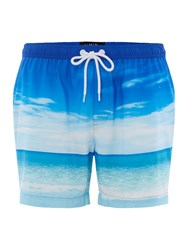 Criminal Photographic Beach Swim Shorts Blue