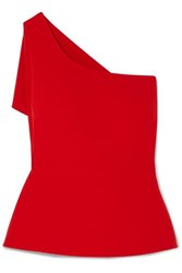 Safiyaa One Shoulder Asymmetric Draped Stretch Crepe Top Red