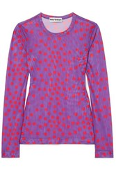 Molly Goddard Freddie Polka Dot Mesh Top Purple