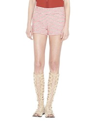 Alice Olivia Cady Striped Cotton Blend Shorts Red Cream Multi Colors
