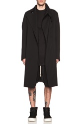 Rick Owens Wool Blend Trench In Black