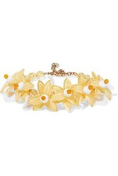 Red Valentino Gold Tone Bead And Resin Bracelet Yellow