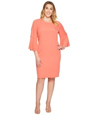 Calvin Klein Plus Size Bell Sleeve Dress Porcelain Rose Women's Dress Pink