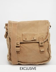 Reclaimed Vintage Overdyed Messenger Bag Beige