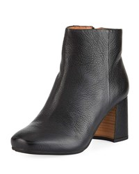 Gentle Souls Troy Leather Block Heel Booties Black
