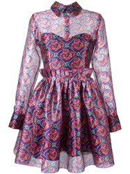 Daizy Shely Floral Print Dress Pink Purple