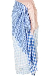 Marysia Picnic Gingham Tencel And Cotton Blend Pareo Blue