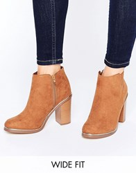 New Look Wide Fit Metal Detail Ankle Boots Tan Stone