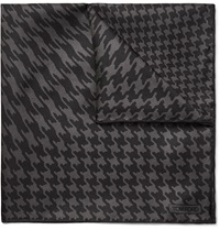 Tom Ford Houndstooth Print Silk Twill Pocket Square Gray