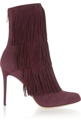 Paul Andrew Taos Fringed Suede Ankle Boots Burgundy