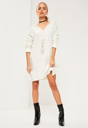 Missguided White Distressed Oversize Hooded Jumper Dress