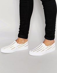 Asos Slip On Sneakers In White Canvas With Gold Foil Stripe White