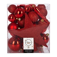 Amara Set Of 33 Assorted Baubles And Tree Topper Christmas Red