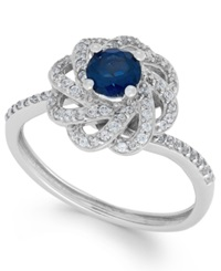 Macy's Sapphire 5 8 Ct. T.W. And Diamond 1 3 Ct. T.W. Knot Ring In 14K White Gold