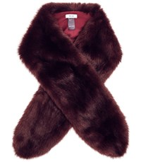 Reiss Laska Faux Fur Scarf In Claret
