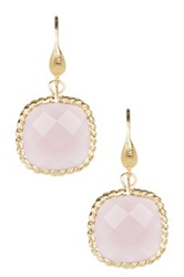 Rivka Friedman 18K Gold Clad Lavender Chalcedony Cushion Dangle Earrings Pink