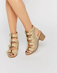 Truffle Collection Multi Buckle Mid Heel Sandal Beige Pu Brown