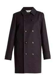 A.P.C. Marine Double Breasted Stretch Cotton Coat Navy