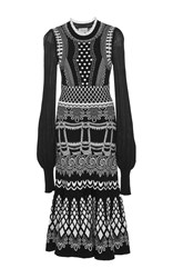 Temperley London Silvermist Long Sleeve Dress Black White