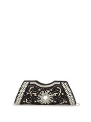 Shrimps Dallas Crystal Faux Pearl And Beaded Satin Clutch Black