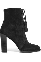 Michael Kors Collection Odile Leather Trimmed Suede Boots Black