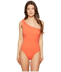 Letarte One Shoulder One Piece Hot Coral Women's Swimsuits One Piece Red
