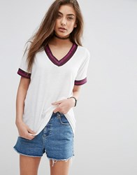 Asos Varsity Top In Longline With Metallic Tipping White